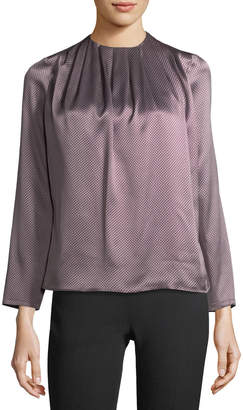 Kiton Shiny Silk Jacquard Blouse