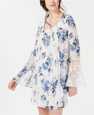 75a307934a77 Sequin Hearts Juniors' Printed Crochet Bell-Sleeve Dress