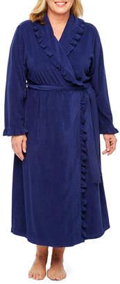 Adonna Long Sleeve Ruffled Trim Terry Knit Robe - Plus