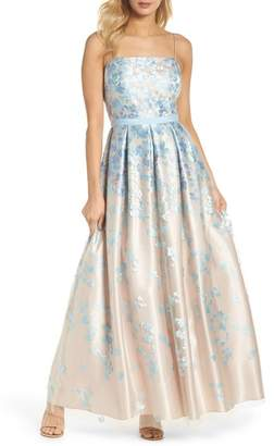 Eliza J Floral Embroidered Box Pleat Ballgown