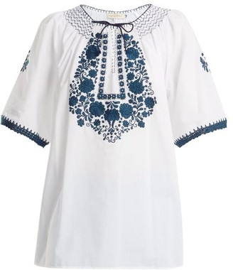 Muzungu Sisters - Eva Embroidered Cotton Top - Womens - White Navy