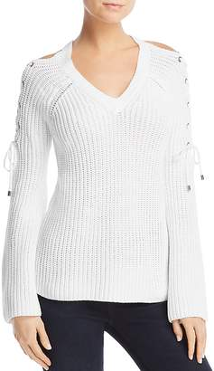Aqua Lace-Up Cold-Shoulder Sweater - 100% Exclusive