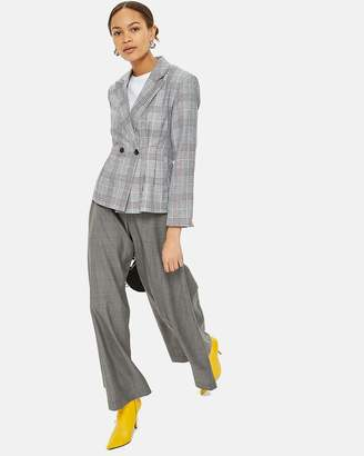 Topshop Linen Checked Jacket