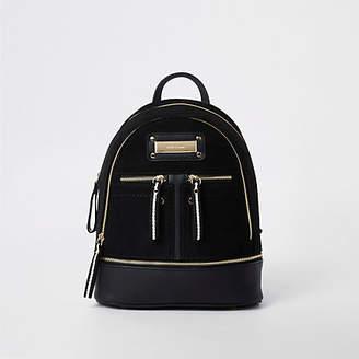 179ce215db River Island Womens Black mini zip pocket backpack