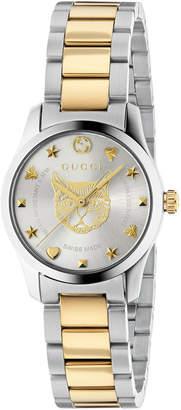 Gucci 27mm G-Timeless Bracelet Watch w/ Feline Motif, Two-Tone