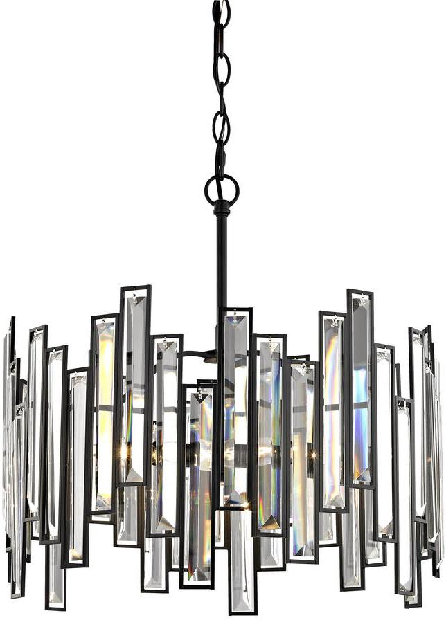 Fifth and Main Lighting Madison 3-Light Matte Black Chandelier with Crystal Prisms
