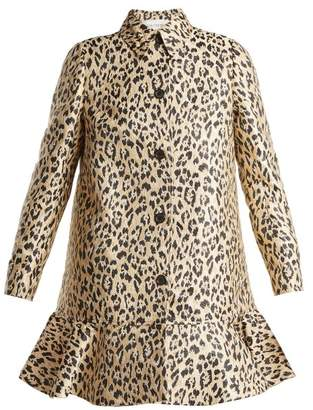 Valentino Leopard Print Brocade Coat - Womens - Leopard
