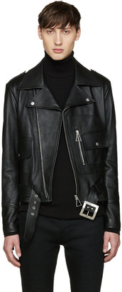 Saint Laurent Black Leather Fringed Jacket $5,490 thestylecure.com