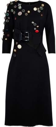 Dolce & Gabbana Appliquéd Buckled Wool-Blend Twill Midi Dress