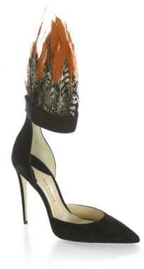 Paul Andrew Limited-Edition Pasare Feather& Suede d'Orsay Pumps