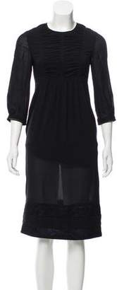 Burberry Silk Three-Quarter Length Sleeve Midi Dress