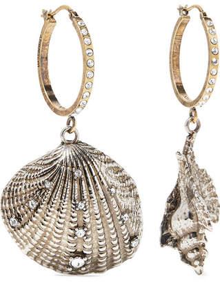 Alexander McQueen Silver And Gold-tone Swarovski Crystal Hoop Earrings