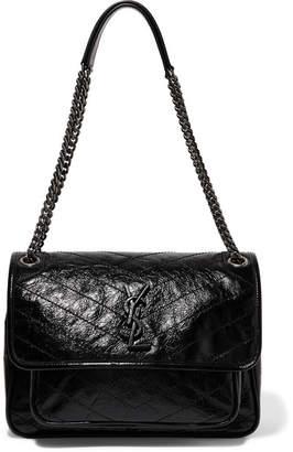 c5a45a59b9c4 ... Saint Laurent Niki Medium Quilted Crinkled Patent-leather Shoulder Bag  - Black