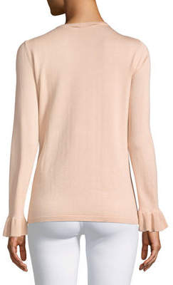 Karl Lagerfeld Paris Pearly-Studded Long-Sleeve Sweater