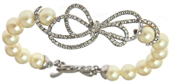 Carolee Crystal Bow on a Pearl Bracelet