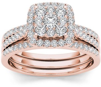 Imperial Diamond Imperial 1 Carat T.W. Diamond 10kt Rose Gold Single Halo Engagement Ring Set