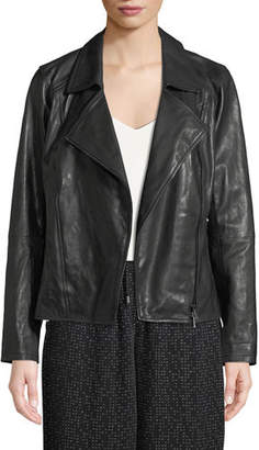 Eileen Fisher Rumpled Lux Leather Moto Jacket, Plus Size