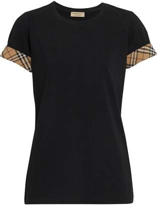 Burberry Check Detail Stretch Cotton T-shirt