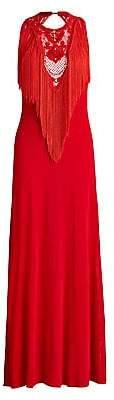 Ralph Lauren Women's Sleeveless Fringe Embroidered Gown