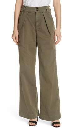 Frame Pleated Wide Leg Twill Trousers