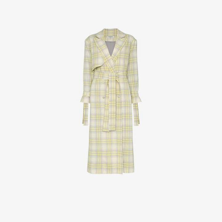 Materiel check wool trench coat