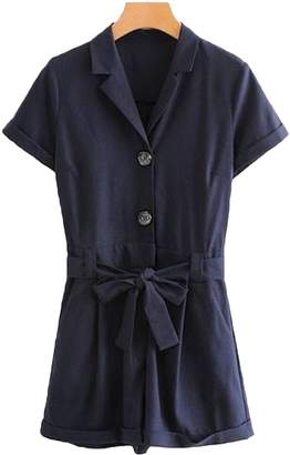 Goodnight Macaroon 'Remi' Belted Button-up Shirt Romper