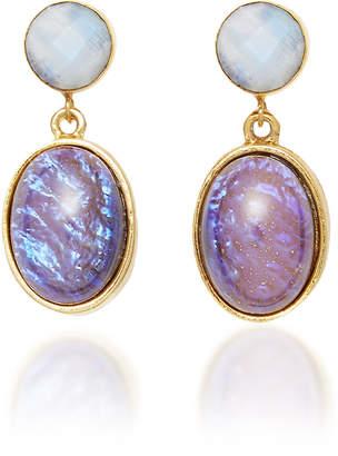 Eliza J Brinker & Night Owl Gold-Plated Glass and Moonstone Earrings