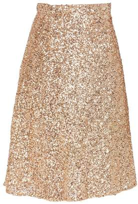Flowerry Women Tea Length Sequin Skirts Wedding Party Holiday Formal Skirts L