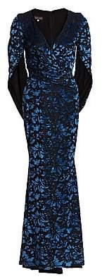 Talbot Runhof Women's Velvet Tapestry Drape-Back Gown