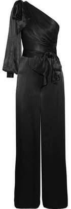Zimmermann One-shoulder Bow-embellished Satin Jumpsuit - Black