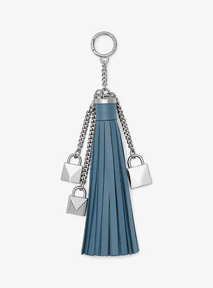 Michael Kors Mercer Leather Tassel And Lock Key Chain