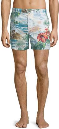 Valentino Watercolor Tropical-Print Swim Shorts