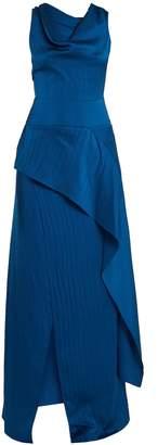 Roland Mouret Alford hammered silk-satin cowl-neck gown