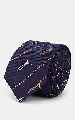 Thom Browne Men's Swimmers-Motif Silk-Cotton Necktie - Navy