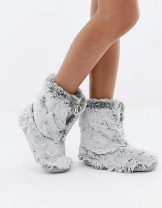 Bedroom Athletics Cole short faux fur slipper boot in gray