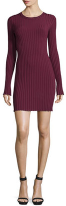 Elizabeth and James Penny Long-Sleeve Ribbed Bodycon Dress, Bordeaux $325 thestylecure.com