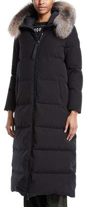 Moncler Bernache Long Puffer Coat w/ Hood & Fur Trim