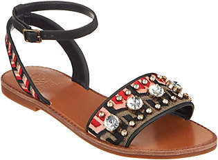 Vince Camuto Embroidered Sandals w/ Ankle Strap- Akitta