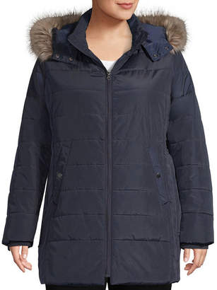 ST. JOHN'S BAY Woven Heavyweight Puffer Jacket-Plus