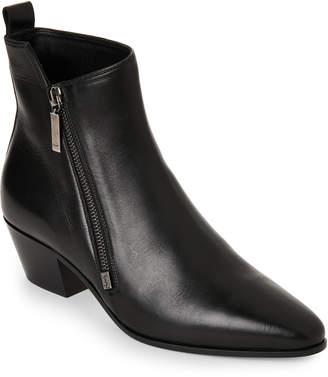 Saint Laurent Black Rock Cuban-Heel Leather Ankle Boots