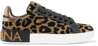 Dolce & Gabbana Logo-embellished Flocked Textured-lamé And Leather Sneakers - Leopard print