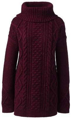 Lands' End Red Donegal Fancy Cable Roll Neck