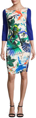 Roberto Cavalli Tropical Print Sheath Dress