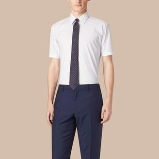 Burberry Modern Fit Short-sleeved Stretch Cotton Shirt $335 thestylecure.com