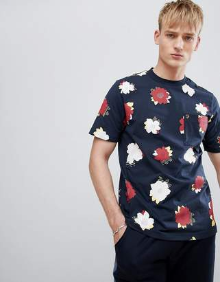 Farah Butlins Floral Print T-Shirt in Navy