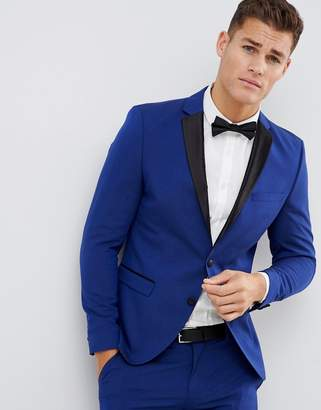 Selected Tuxedo Suit Jacket With Square Hem And Satin Lapel In Skinny Fit