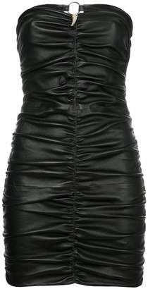 Roberto Cavalli ruched sabre tooth bandeau dress