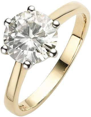 Moissanite 9 Carat Yellow Gold 2 Carat Solitaire Ring