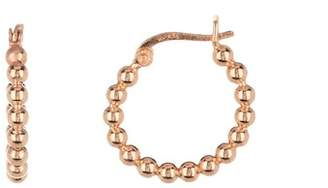 Argentovivo 18K Rose Gold Plated Sterling Silver Small Bead Hoop Earrings
