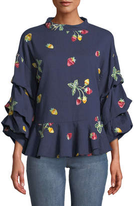 Lumie Strawberry-Embroidered Balloon-Sleeve Blouse